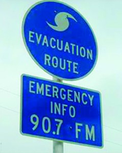 Florida evacuation route sign showing FPBS member station